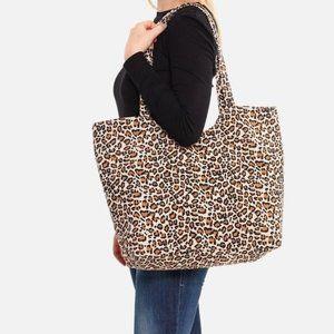 NWT Leopard Print Canvas Tote Bag